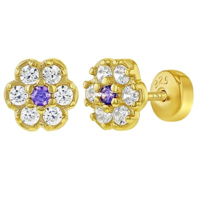 ed8bfb02c 925 Sterling Silver Purple Clear CZ Flower Infant Earrings with Safety Backs:  Amazon.co.uk: Jewellery