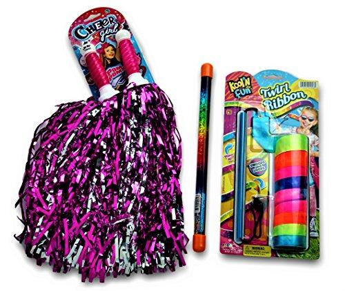 JA-RU Cheerleader POM POMS, Glitter Baton and Ribbon Dance and Cheer Set D1 (Twirling Accessories)