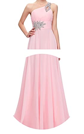 Long One Shoulder Floor Length Chiffon Formal Prom Dress Gowns Robe de Soiree Longue 2018,