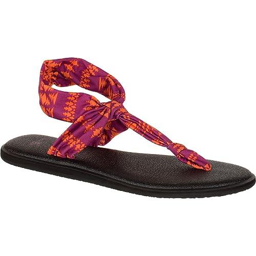 Sanuk Womens Yoga Sling Ella Prints Sandal Footwear, Vivid Violet/Orange Koa Tribal, Size 09