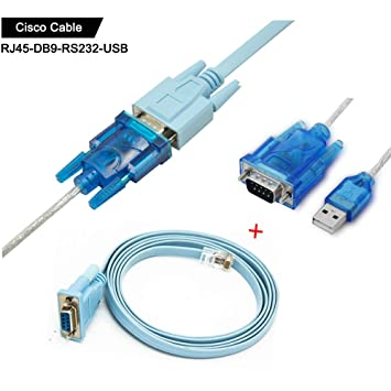 Cisco console cable Serial Cable Rj45 to DB9 & RS232 to USB (2 In 1) for  Cisco device 1 8m+1M