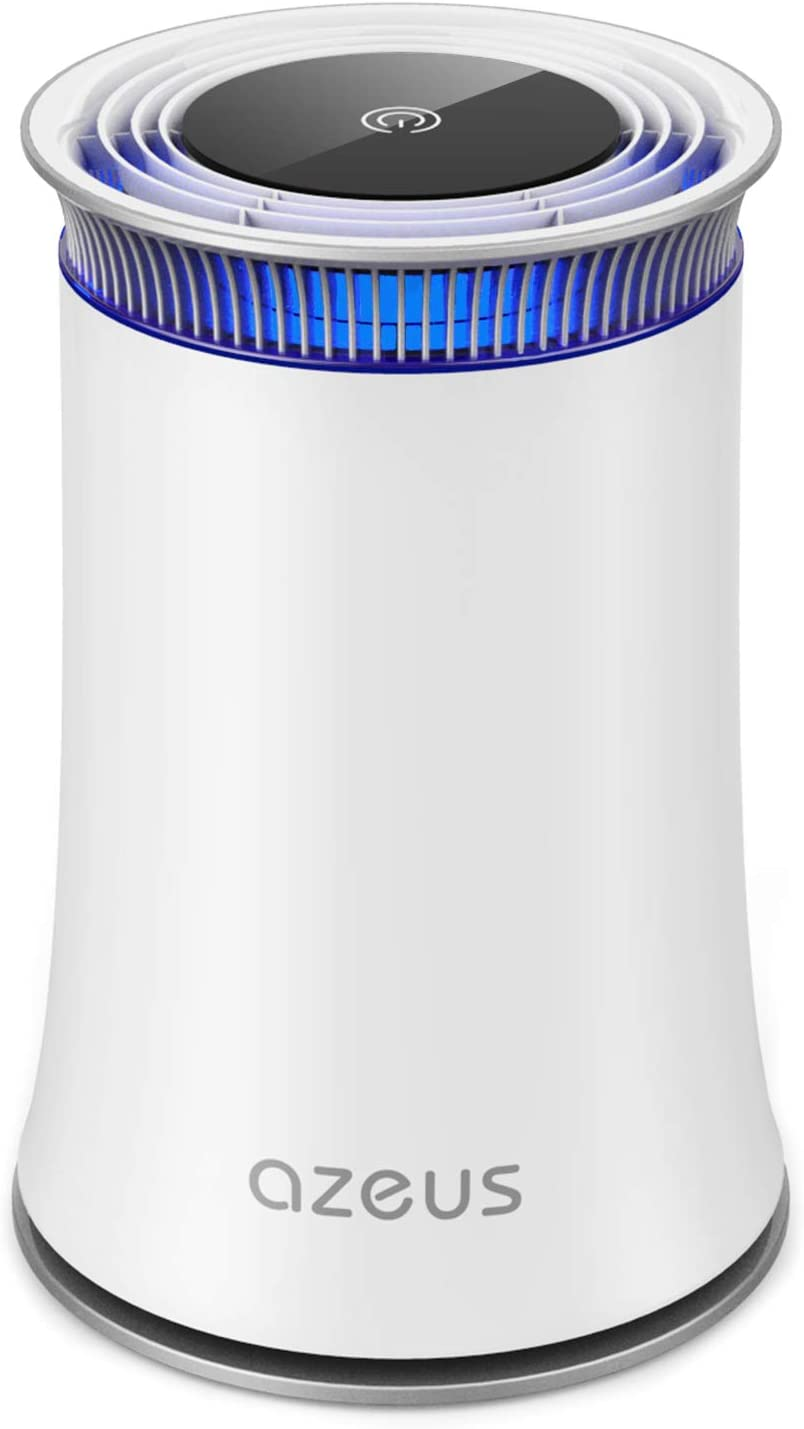 AZEUS High CADR Air Purifier for Home, Large Rooms to 376ft², Fast Purification, True HEPA Filter Air Cleaner, Filters Allergies, Pollen, Smoke, Dust, Pet Dander, Quiet, 100% Ozone-Free, Night Light