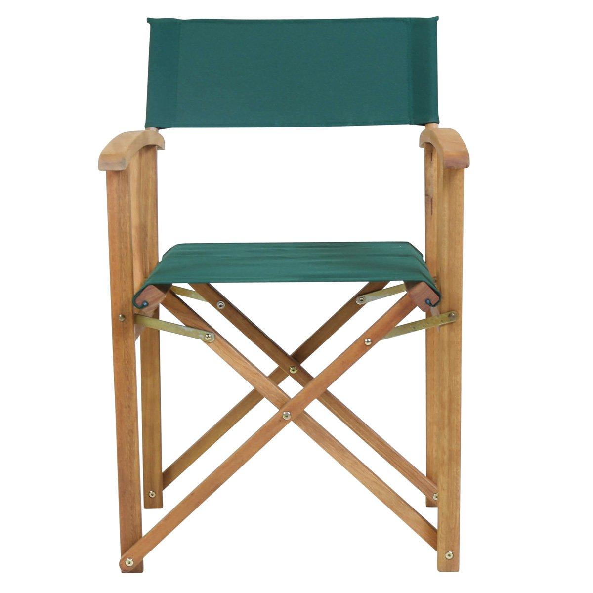 Charles Bentley Pair Of Folding Wooden Directors Chairs FSC Certified  Outdoor Garden Furniture   Green: Amazon.co.uk: Garden U0026 Outdoors