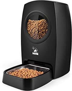 HICTOP Automatic Pet Feeder | Auto Cat Dog Timed Programmable Food Dispenser Feeder for Medium Small Pet Puppy Kitten - Portion Control Up to 4 Meals/Day M30 6L(Black)