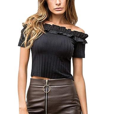 3c165d53b0bb17 Amazon.com  Sinfu Fashion Women Sexy Solid Color Ruffle Off Shoulder Short  Sleeve Short Crop Top T-Shirt Blouse  Clothing