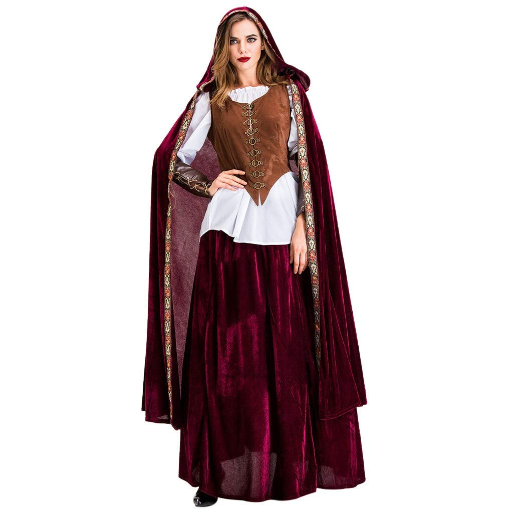 Alixyz- Fashion Sexy Women Halloween Cosplay Vintage Style Witch Middle Ages Court Dress for Party (M, Red) by Alixyz-