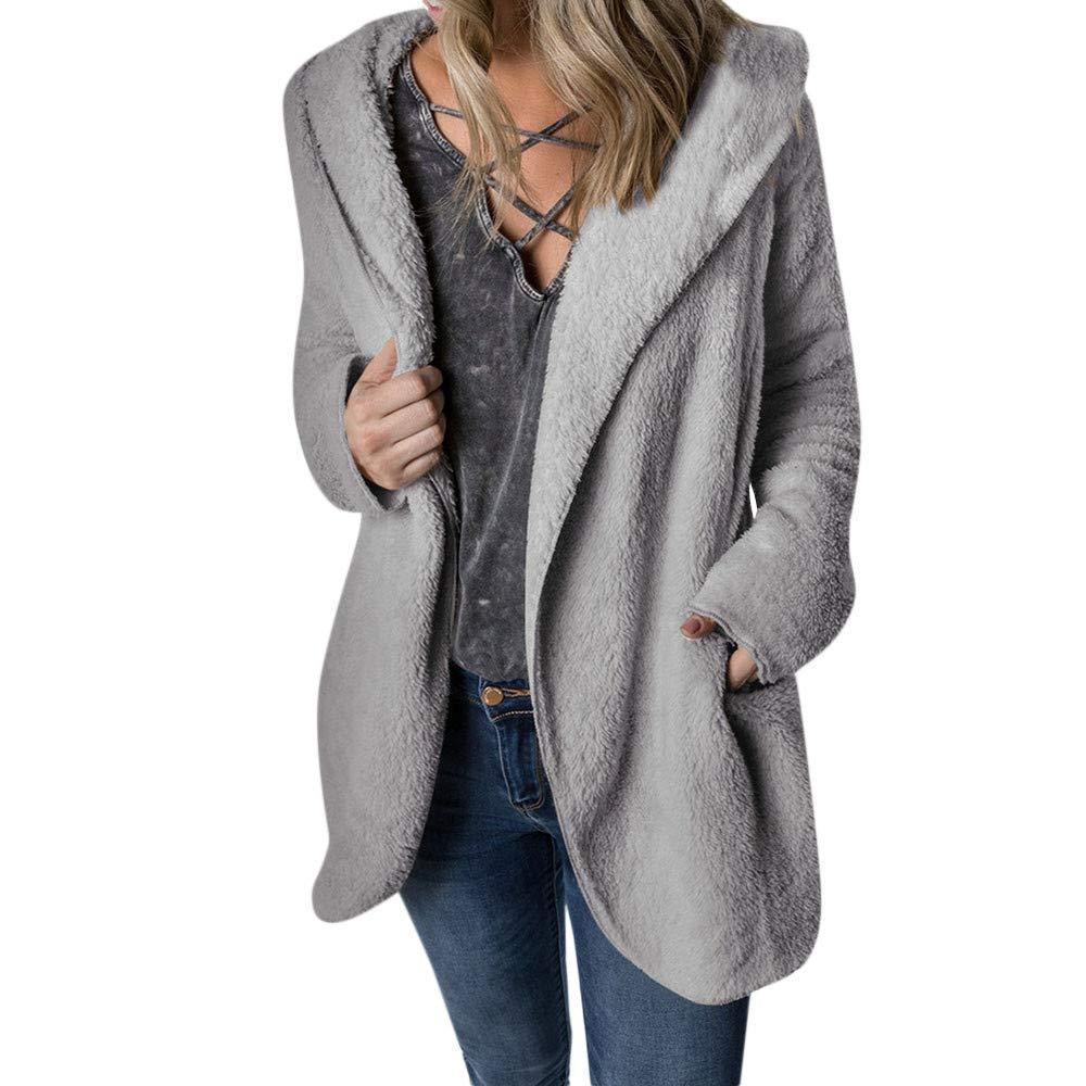 Malihcr Women Winter Coat Keep Warm Outerwear Hoodie Faux Fur Coat Outwear(Gray-S)