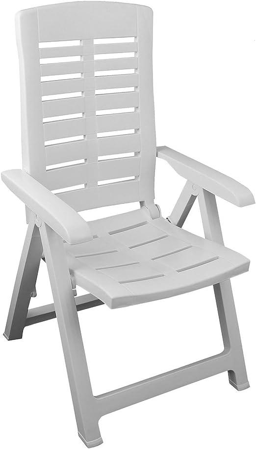 Jardín Plegable – Silla plegable con respaldo alto de 5 posiciones Balcón Terraza para muebles muebles de jardín PLÁSTICO – Color Blanco: Amazon.es: Jardín