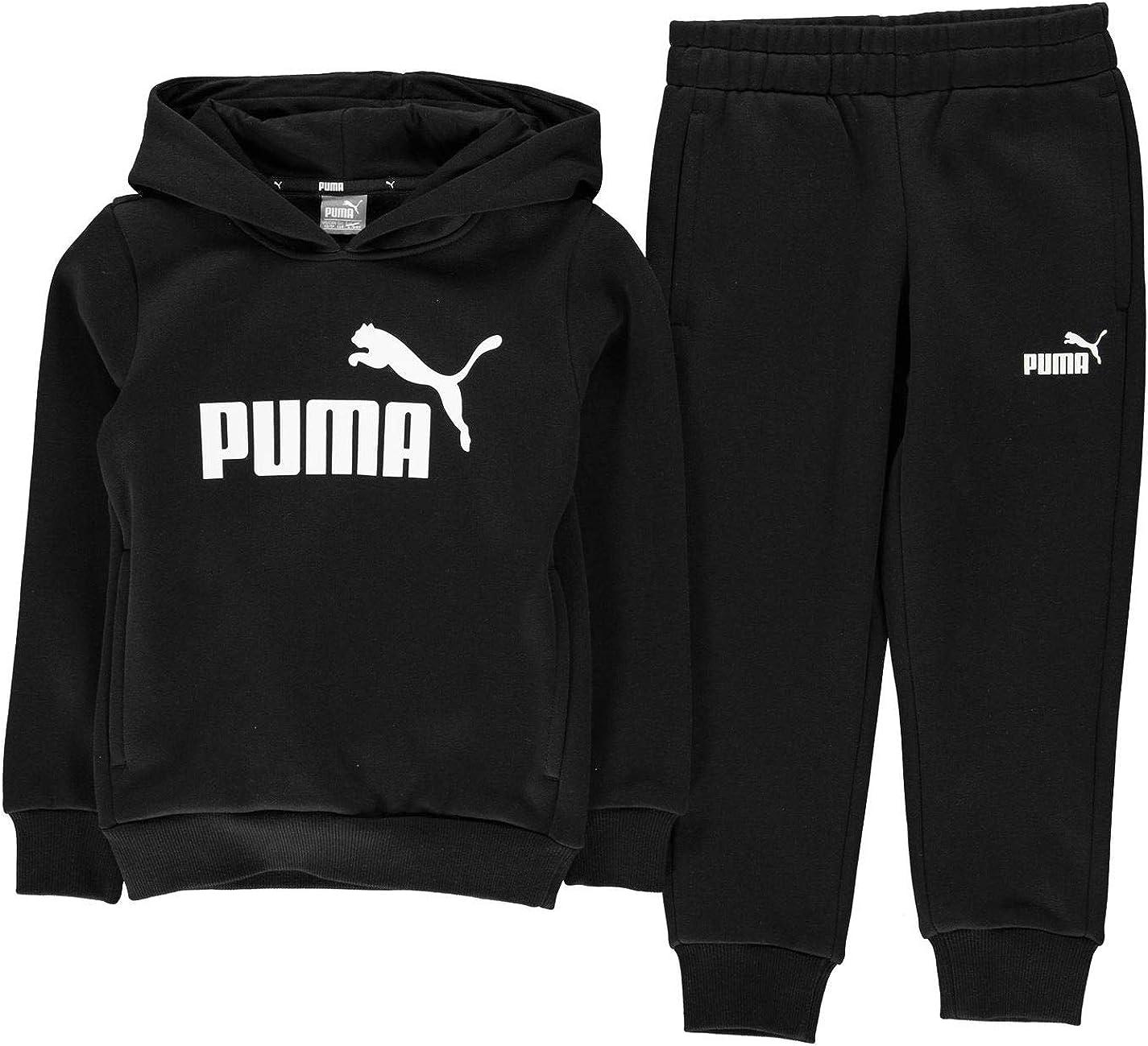 PUMA - Sudadera con Capucha y Pantalones para niño Blanco y Negro ...