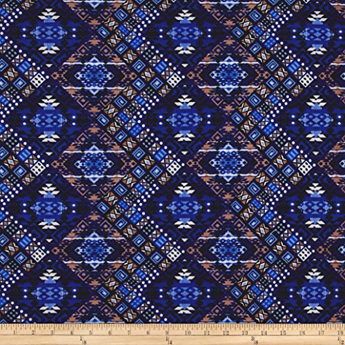 stretch-ity-jersey-knit-diamond-ethnic-royal-blue-tan-fabric-by-the-yard