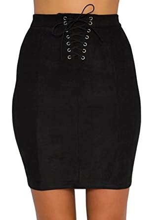 22bf5db92a Gamery Women's Sexy Lace Up Faux Suede Stretch Bandage Tight Bodycon Mini  Pencil Skirt Small Black