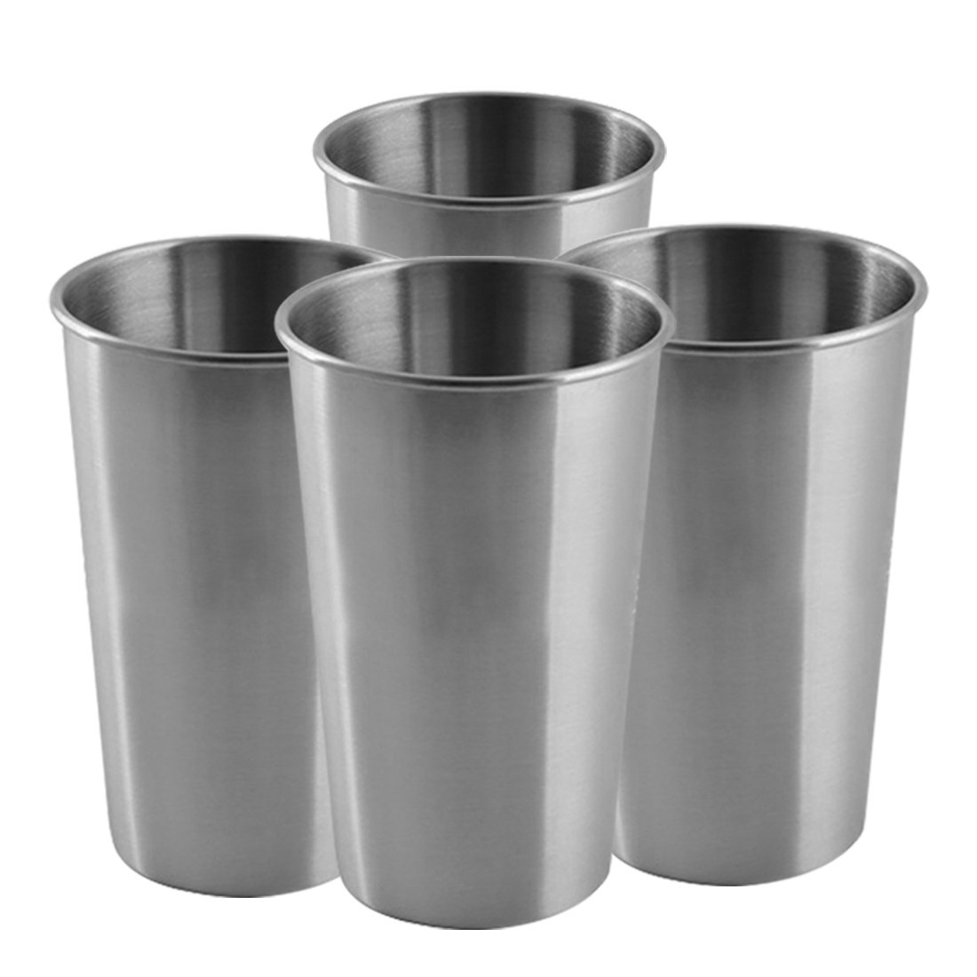 Stainless Steel Cup for Kids,12oz Set of 4 Food Grade BPA Free Stacking Tumbler,Unbreakable Metal Pint Mugs,Unbreakable Drinking/Water/Bear/Coffee Glass,Great for Indoors, Outdoors, Camping