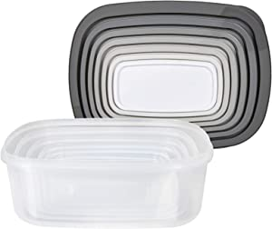 Cook with Color Rectangular Food Storage Containers with Lids, Easy-Find Nesting Plastic Containers, 14 Piece Set (Grey Ombre)
