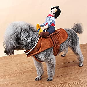 Yarssir Pet Funny Costumes Pet Suit Knight Rider Cowboy Style with Doll Clothing for Dogs Cats Party Cosplay Apparel