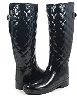 Amazon.com | Hunter Original Refined Tall Quilted Black Gloss Boot ... : hunter boots quilted - Adamdwight.com