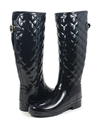 Womens Hunter Refined Tall Quilted Black Gloss Wellies Wellington Boots  SIZE 7 d7dce9ee9