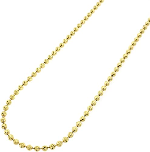 2mm Diamond Cut Moon Cut Ball Bead Chain Necklace Solid 14K Yellow Gold Clad 925