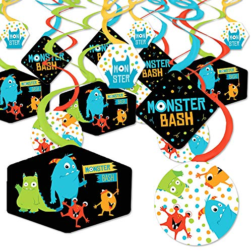 Monster Bash - Little Monster Birthday Party or Baby Shower Hanging Decor - Party Decoration Swirls - Set of 40 -