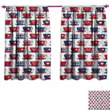 Cheap Tea Party Window Curtain Fabric Great Britain Themed Teacup Forms Patterned Union Jack Hearts Flags Waterproof Window Curtain W120 x L72 Vermilion Night Blue
