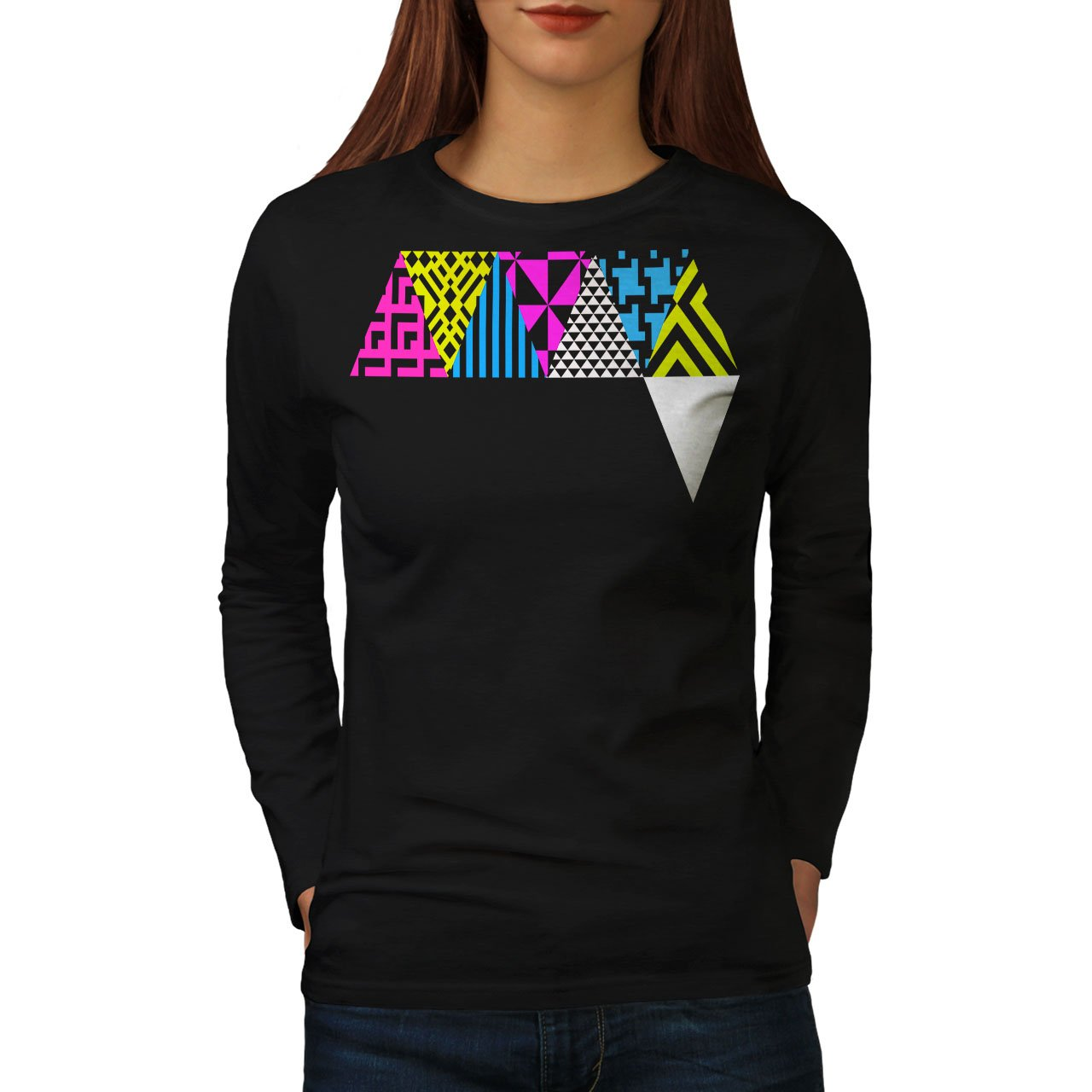 2539fa5b086b Amazon.com: wellcoda Triangle Geometric Womens Long Sleeve T-Shirt, Pattern  Graphic Design: Clothing