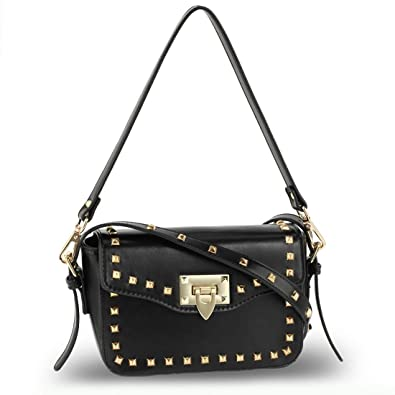 c05e6c9fc7 LeahWard Faux Leather Studded Cross Body Bag With Aztec multicoloured strap  (Black 722)
