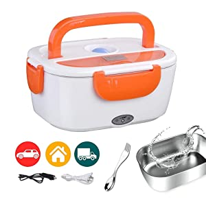 Electric Lunch Box Food Heater Portable Food Warmer Stainless Steel for Car Orange