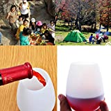 YUYIKES Set of 4 Silicone Wine Glasses, Unbreakable Shatterproof Flexible Rubber Cups Glamping Party Gear, Drinkware Set for Camping, BBQ, Party Cups, Poolside (4pcs Mix Color)