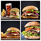 The Melody Art - 4 Pcs Modern Decor Giclee Prints Stretched and Framed Food Artwork Delicious Hamburgers Pictures to Photo Paintings on Canvas Wall Art for Home Kitchen Restaurant Walls Decorations