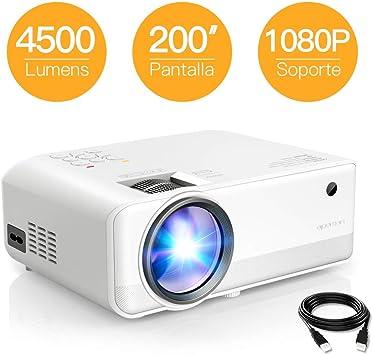 Proyector APEMAN 4500 Lúmen Mini Proyector, Soporte 1080p HD ...