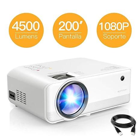 Proyector APEMAN 4500 Lúmenes Mini Proyector Portátil Resolución Nativa 1280*720p con Doble Altavoz LED Vida útil de hasta 50000 Horas de Cine en Casa ...