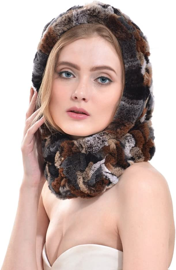 OLLEBOBO Womens Genuine Rabbit Fur Knitted Cap with Earmuffs brown