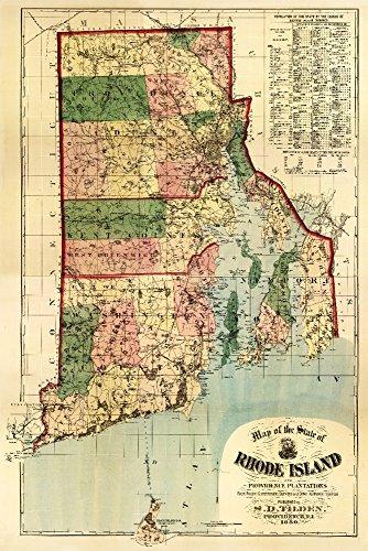 Rhode Island - (1880) - Panoramic Map (12x18 Fine Art Print, Home Wall Decor Artwork Poster)