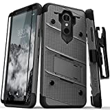 Zizo Bolt Series Compatible with LG Stylo 4 Case Military Grade Drop Tested with Tempered Glass Screen Protector, Holster, Kickstand Metal Gray Black