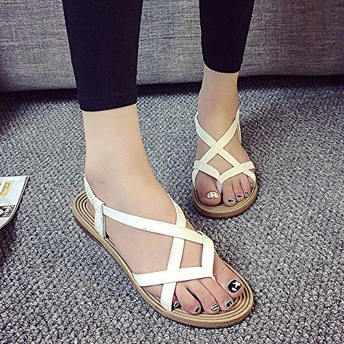 Putars Women Lady White Leisure Shoes Women Sandals Sexy Summer Bandage Fashion Outdoor Shoes Flat qwrUOxz1qI