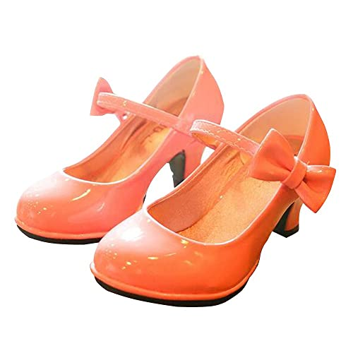 30768419e0c BININBOX Girls Pu Leather High Heel Shoes Bowknot Girls Dress Shoes