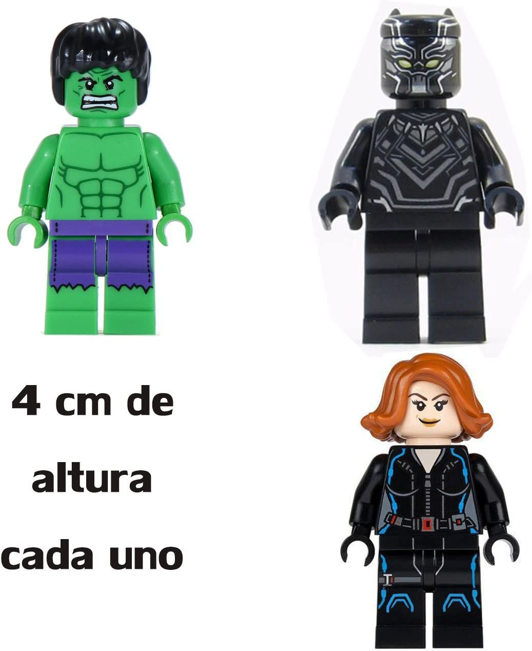 Pack Marvel / Los Vengadores: Pantera Negra, Viuda Negra y Hulk - Figuras 4 cm (compatible con lego) …: Amazon.es: Juguetes y juegos