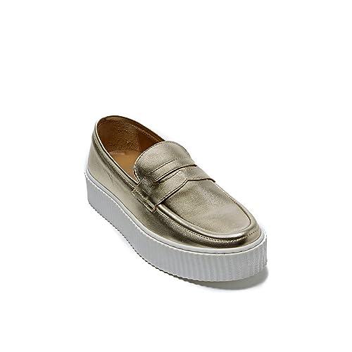 Frank Daniel - Mocasines de Piel para mujer Dorado dorado Dorado Size: 40: Amazon.es: Zapatos y complementos