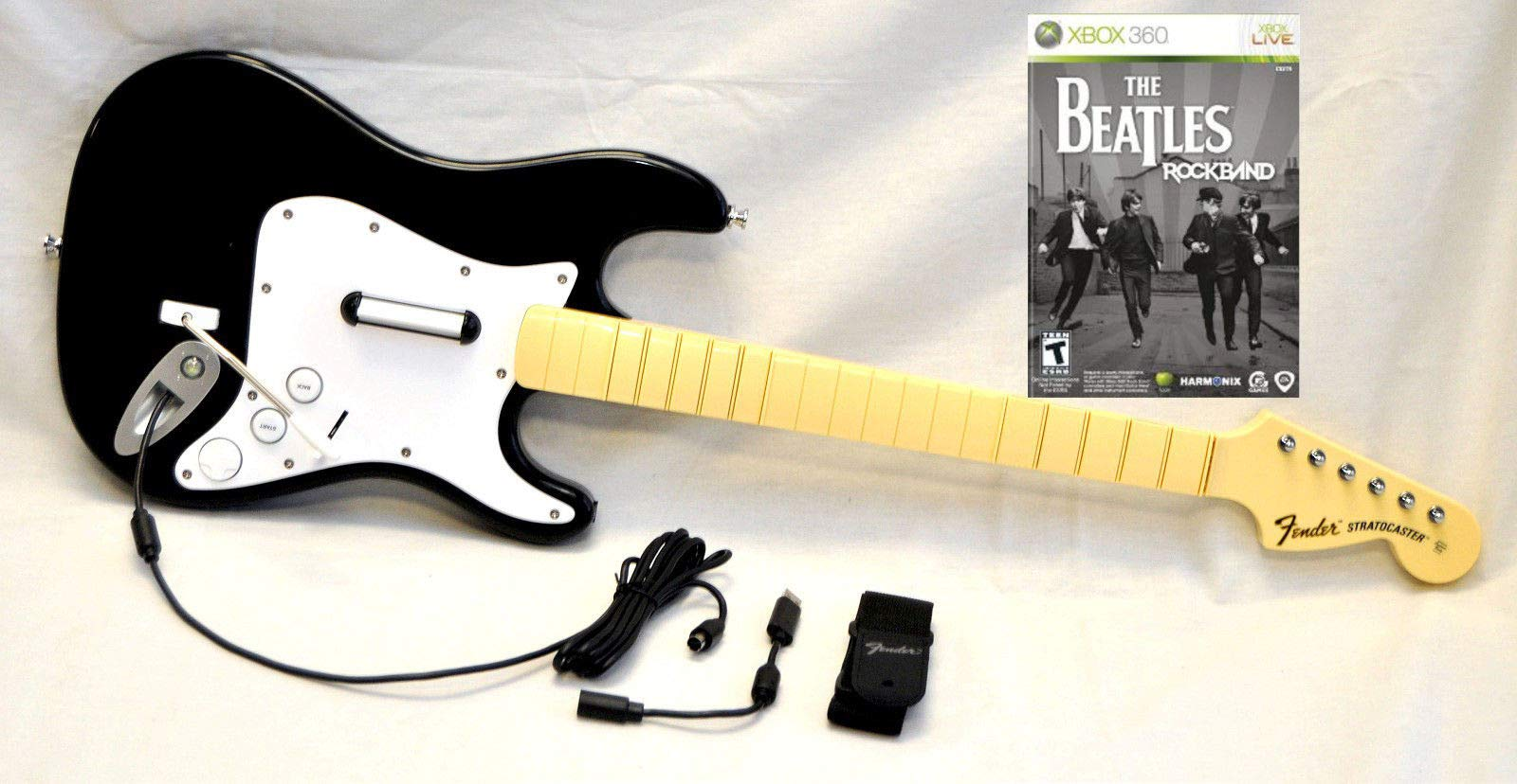 OEM Rock Band 1 XBox 360 Wired Fender Guitar with NEW BEATLES Video Game Kit Set Bundle