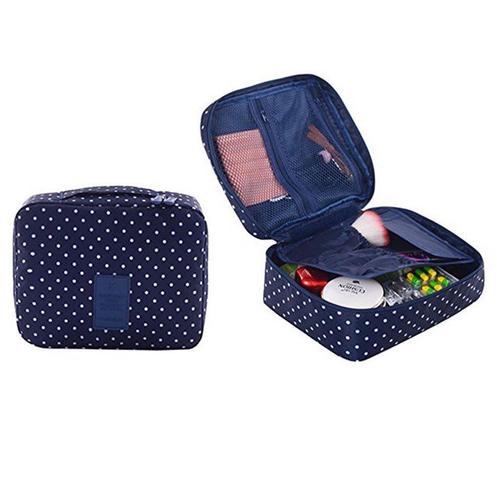 CalorMixs Travel Cosmetic Bag Printed Multifunction Portable Toiletry Bag Cosmetic Makeup Pouch Case Organizer for Travel (Navy Circle)