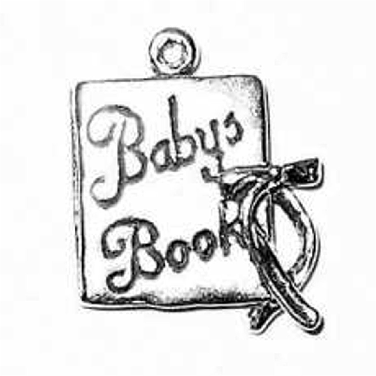 Sterling Silver Girls .8mm Box Chain 3D Baby Book With Bow Pendant Necklace