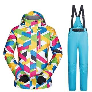 Sunbobo Giacca da Sci da Donna Tuta da Snowboard Invernale Traspirante, Impermeabile e Traspirante Impermeabile Antivento (Colore : Green Pants, Dimensione : M)