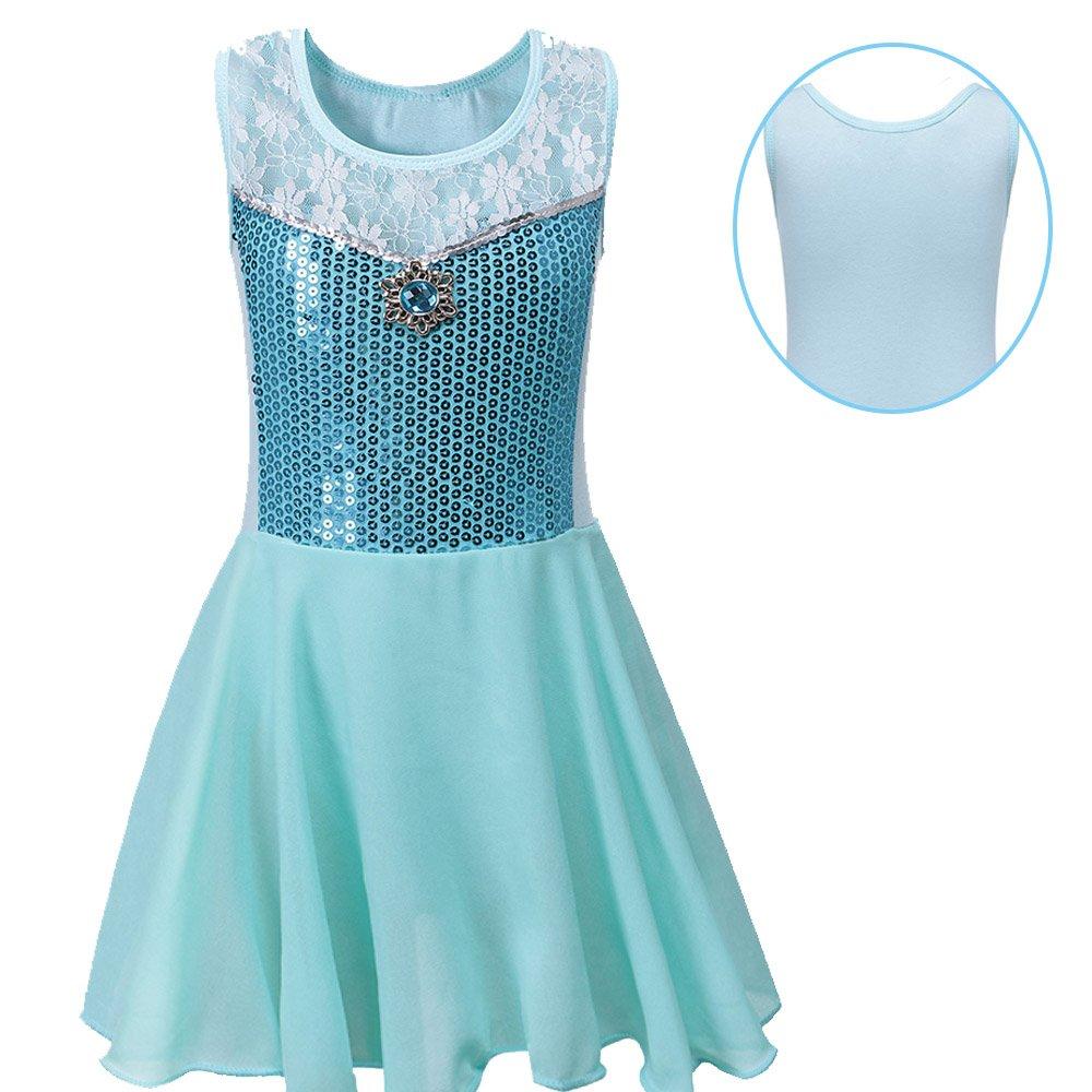 BAOHULU Toddlers Dancing Cosplay Tutu Ballet Leotard for Girls 3-12 Years B098_Blue_4A
