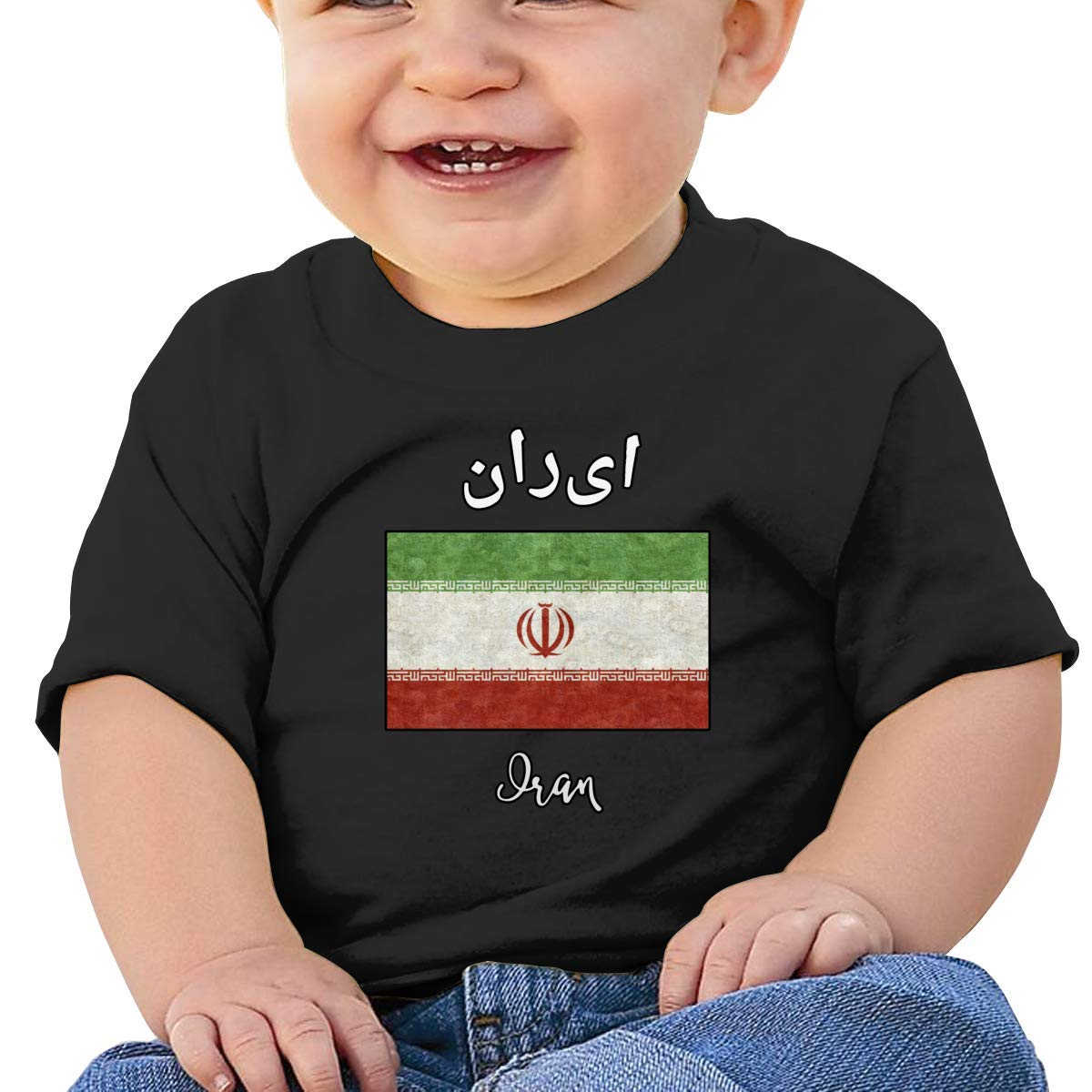 Iran Flag Baby Boy Newborn Short Sleeve T-Shirt 6-24 Month Soft Tops