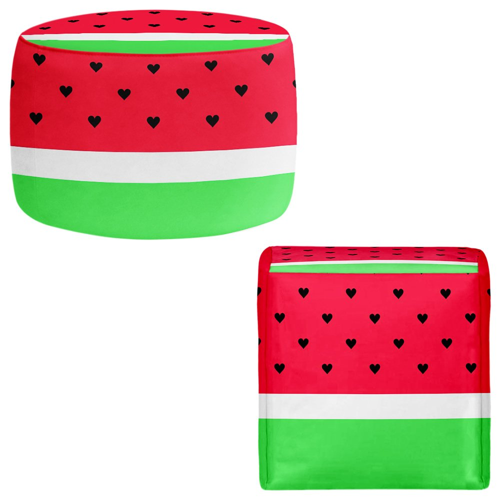 Foot Stools Poufs Chairs Round or Square from DiaNoche Designs by Organic Saturation - I Love Watermelon