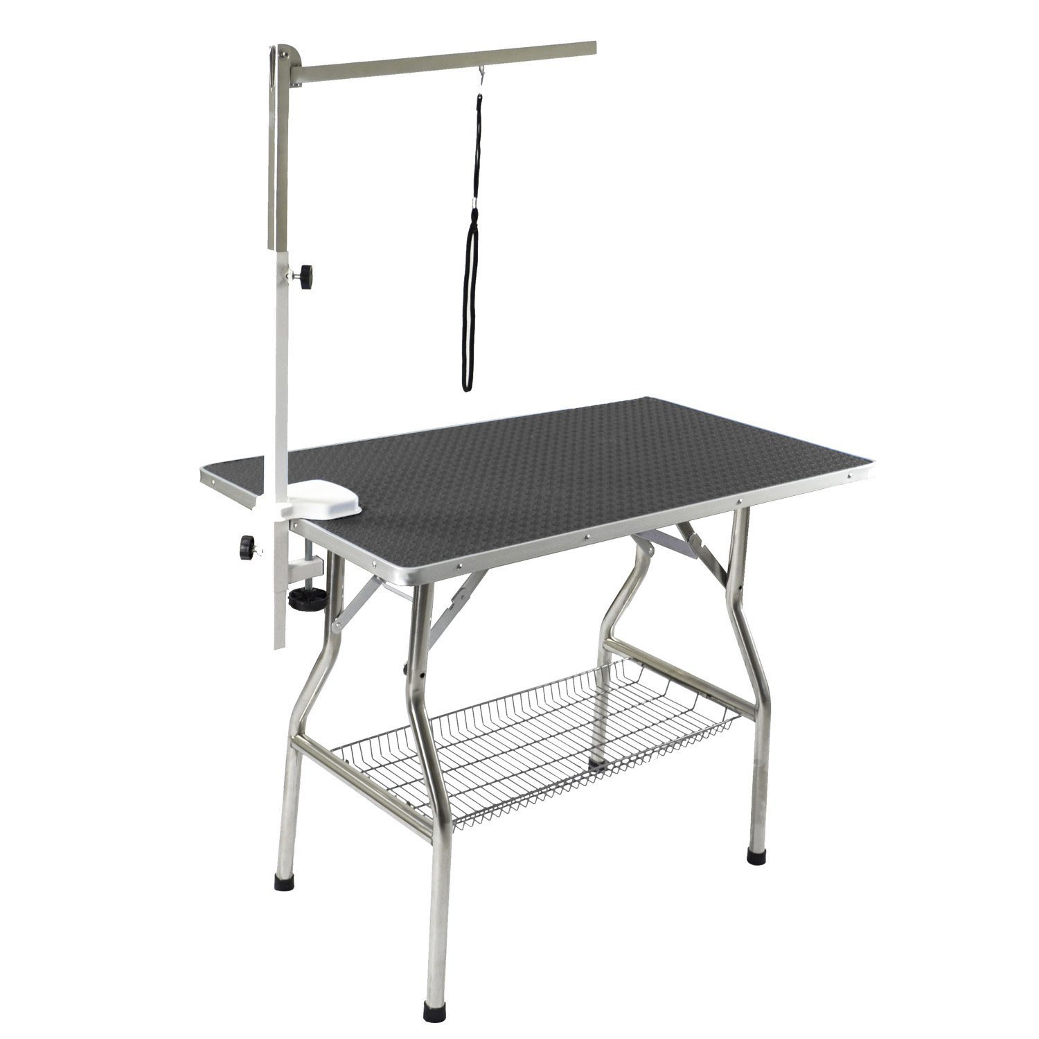 Flying Pig Grooming Small Stainless Steel Frame Foldable Dog Pet Table, 32'' by 21'', Black