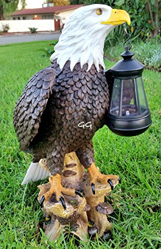 SOLAR AMERICAN BALD EAGLE STATUE WITH SOLAR LIGHT by GardenGreetersLLC