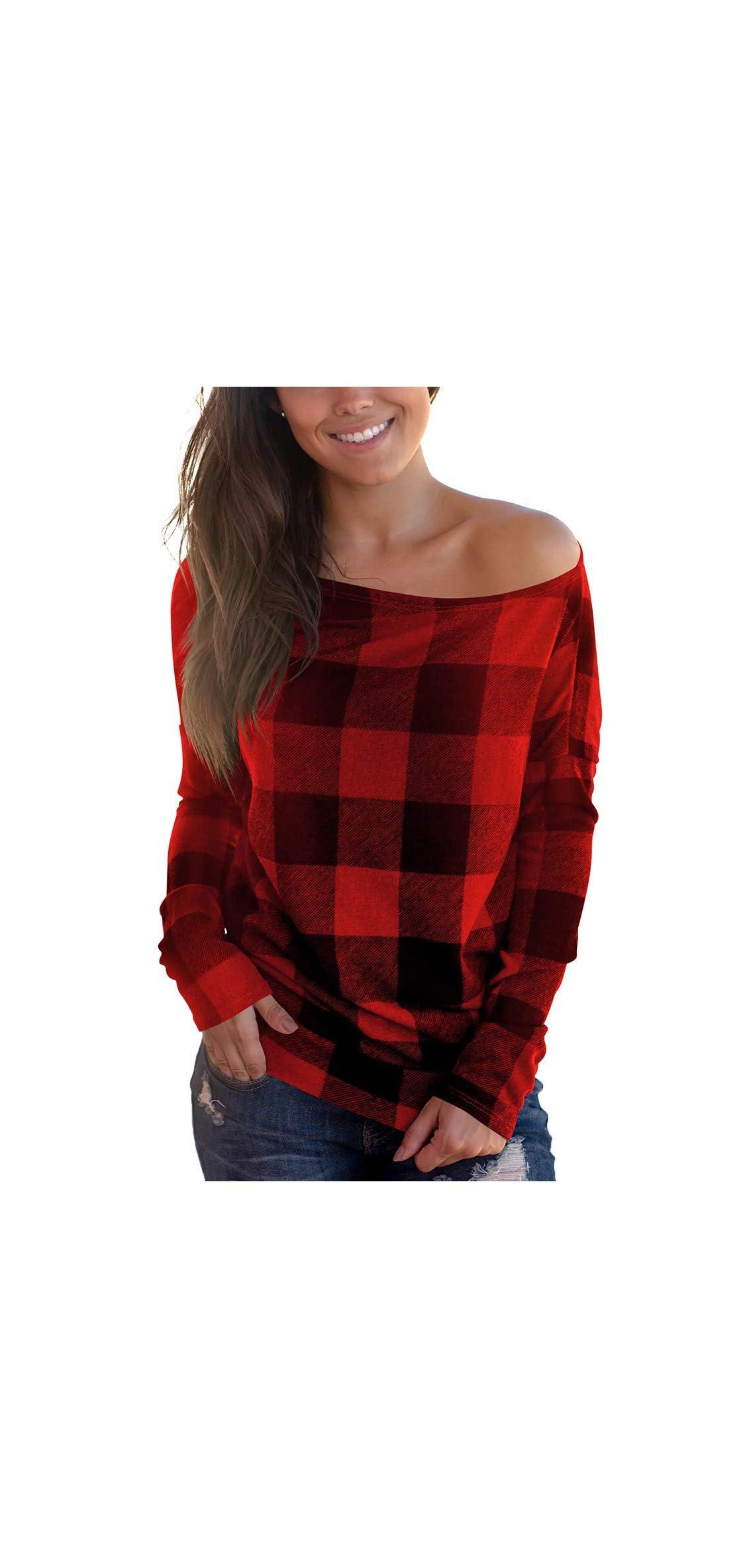 Women's Off Shoulder Top Long Sleeve Plaid Tee Shirt