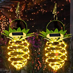 60 LED Hanging Solar Lights Pineapple Decorative Garden Solar Lantern with Handle Waterproof Copper Wire Fairy Light with Clip Outdoor Party Lamp for Festival Wedding Birthday Plants Decor 2 Pack