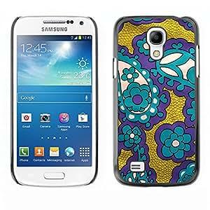 TopCaseStore / la caja del caucho duro de la cubierta de protección de la piel - Fabric Purple Gold Teal - Samsung Galaxy S4 Mini i9190 MINI VERSION!