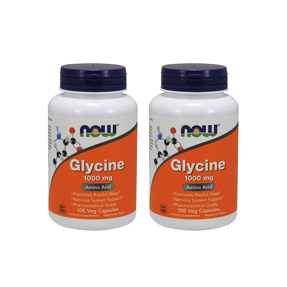 Now Foods Glycine 1000 mg - 100 VegiCapsules 2 Pack
